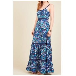 ModCloth Rhythm Radiance Blue Maxi Dress